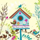 "NEW HOME CARD ""BIRH HOUSE DESIGN"" SQUARE SIZE 5.5"" x 5.5"" By Lings FH157"